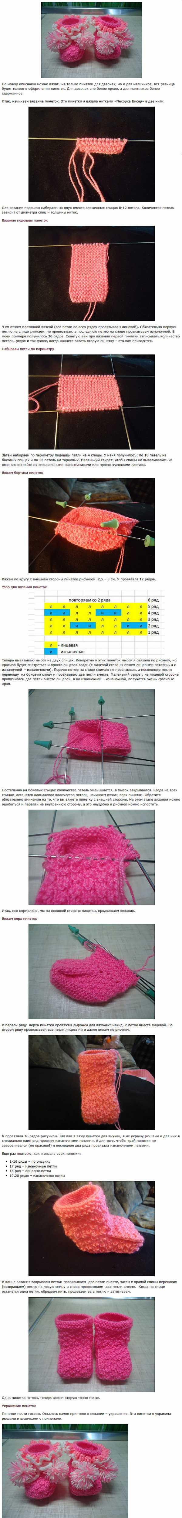 Узоры для вязания детских пинеток